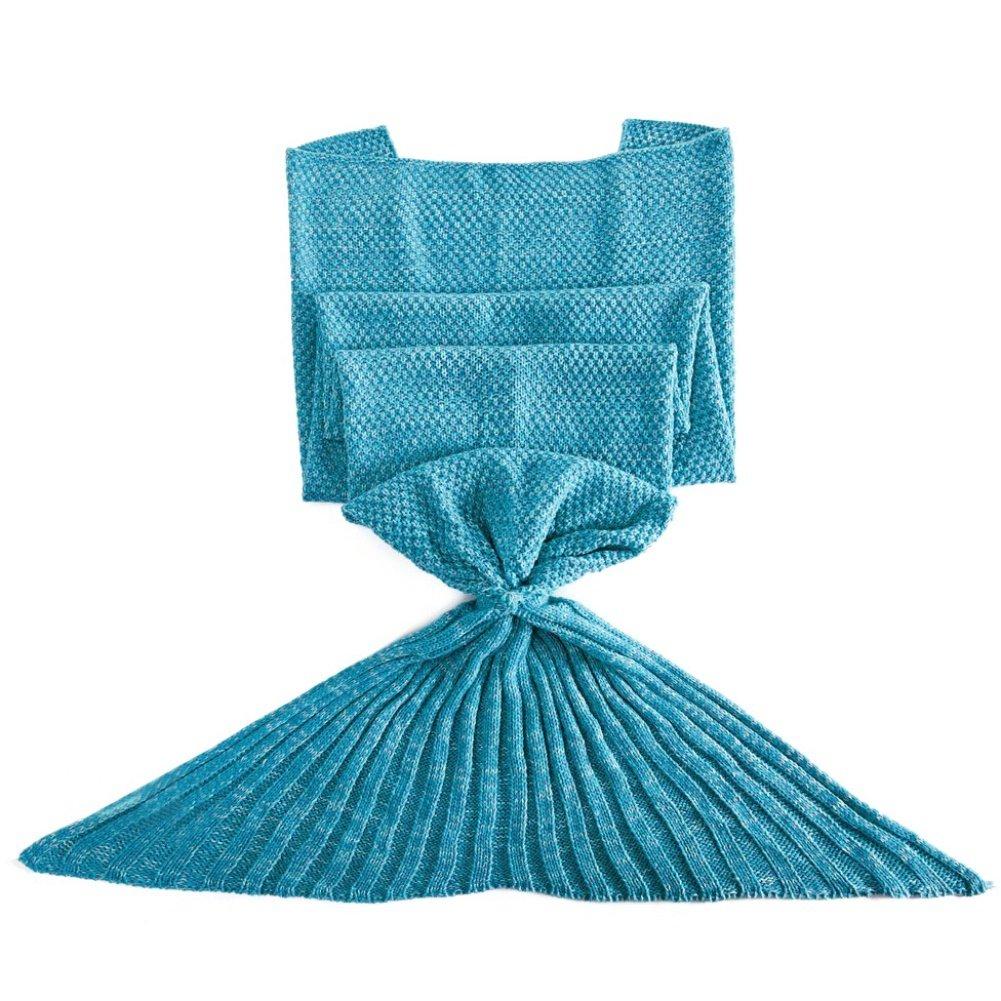 BateerソフトマーメイドテールブランケットハンドメイドリビングルームSleeping Bag for Kids Adult One Size ブルー B07BT6ZCRF  ブルー One Size