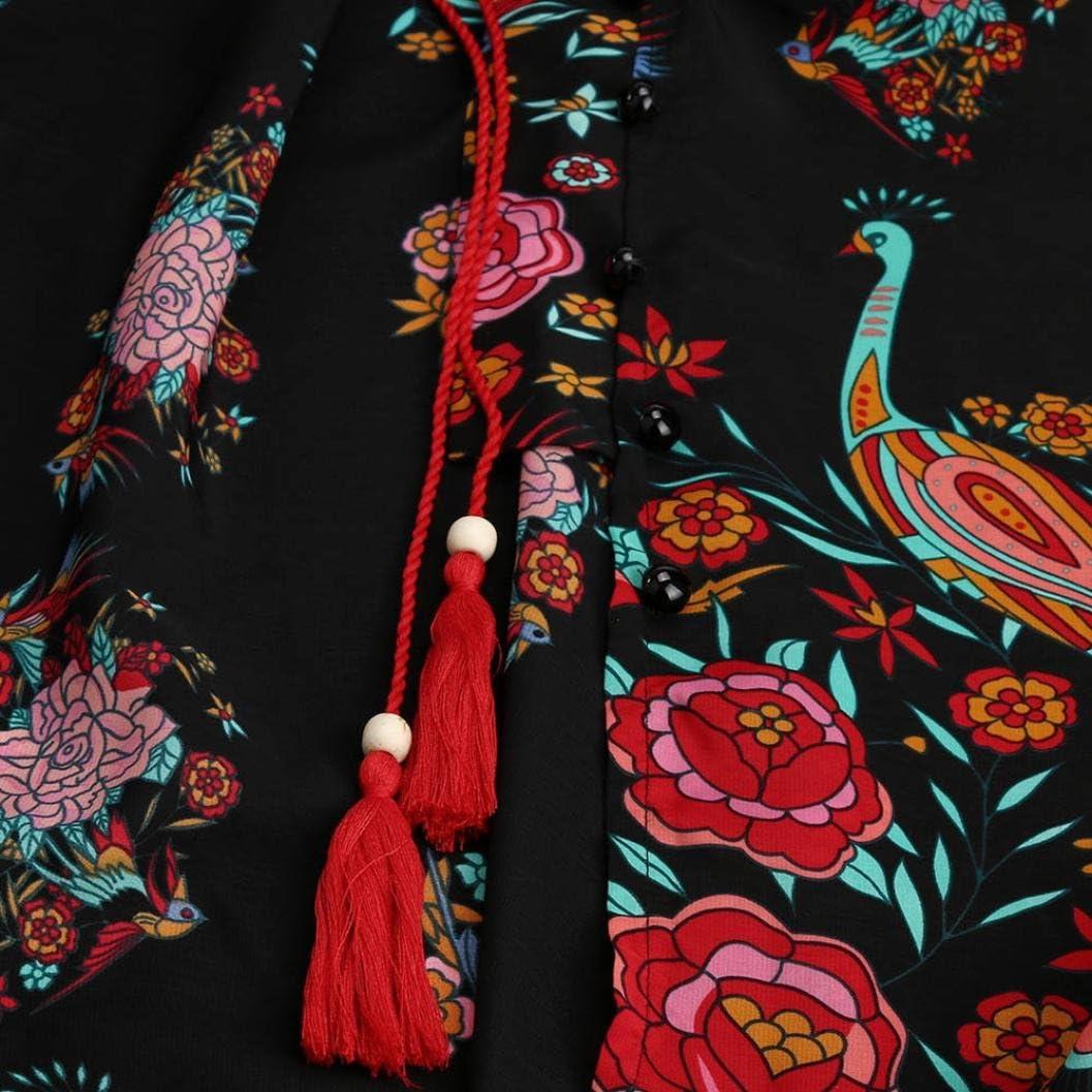 Damen Kleid drucken Blumen Retro Palace V-Ausschnitt Elegante Kleider Party Abendkleid KIMODO V-Kragen gedruckt Strand langes Kleid Party Kleid