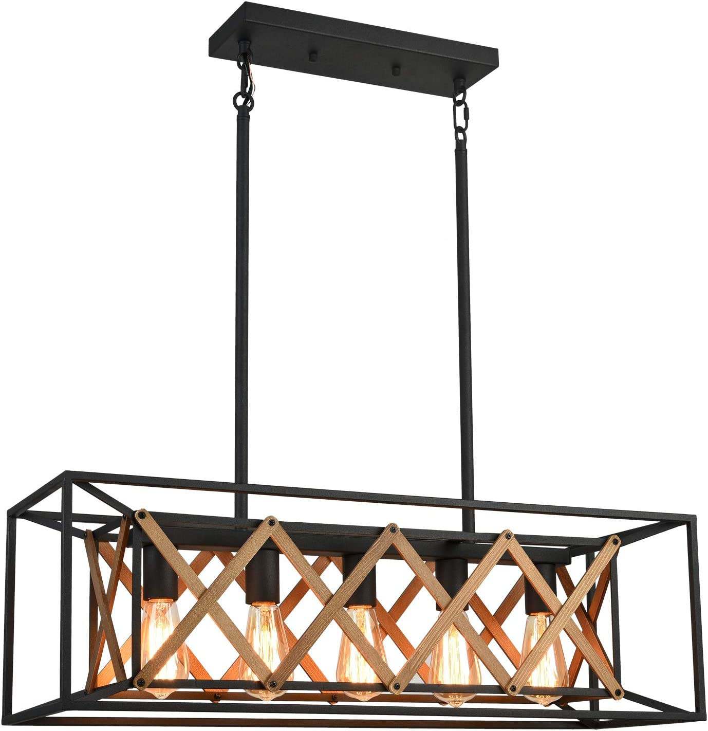 Farmhouse Chandelier Kitchen Island Lighting Fixtures 5 Lights Rustic Light for Dinning Room, Sand Black Finish DOHOMER