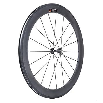 VCYCLE 700C Fibra de Carbono Bicicleta de Carretera Ruedas 60mm Copertoncino 23mm Ancho Shimano o Sram 8/9/10/11 Velocidad(Ruota Anteriore): Amazon.es: ...