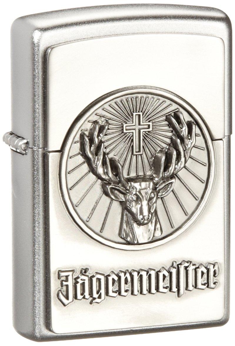 Zippo lighter, Jagermeister Jä germeister, 3-D Emblem, Chrome, NEW, MIB Jagermeister Jägermeister 1900776