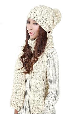 9ee876041049 Fletion Date Femmes Bonnet + écharpe Femmes Filles hiver chaud écharpe  Femmes Bonnet Set  Amazon.fr  Vêtements et accessoires