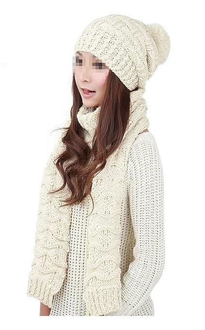 b458425c6e131 Fletion - Set de bufanda y gorro - para mujer beige beige talla única   Amazon.es  Ropa y accesorios