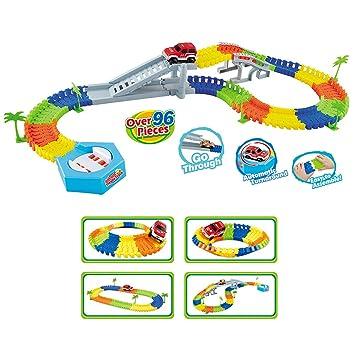 Yvsoo Vías de Tren Eléctrico, 96 Piezas Montaña Rusa Puzzle 3D Juguete Juego De Construcción para Niños (96pcs): Amazon.es: Juguetes y juegos