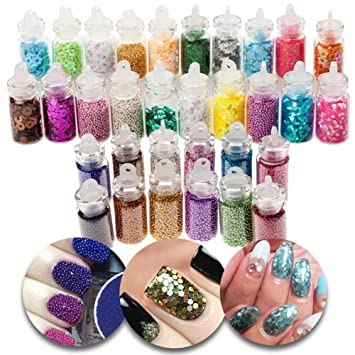 3d Nail Art Manicure Designs Set Of 32 Bottles With Colourful