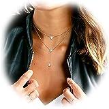 SWEETIEE - Collier femme en Pur Argent 925 Sterling court,double chaine fines elegantes avec pendentif trois Zircon AAA Brillants,Platine,380-420mm
