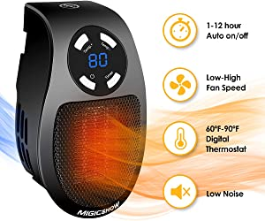 Space Heater for Indoor Use MIGICSHOW Wall-Outlet Space Heaters, Plug-in Heater Personal Ceramic Electric Heater Fan for Study Office Home with Timer and LED Display, 350-Watt ETL Listed