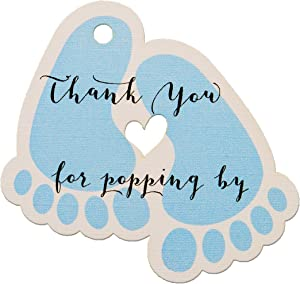 Summer-Ray 50pcs Blue Baby Feet Baby Shower Favor Thank You Tags Thank You for Popping by