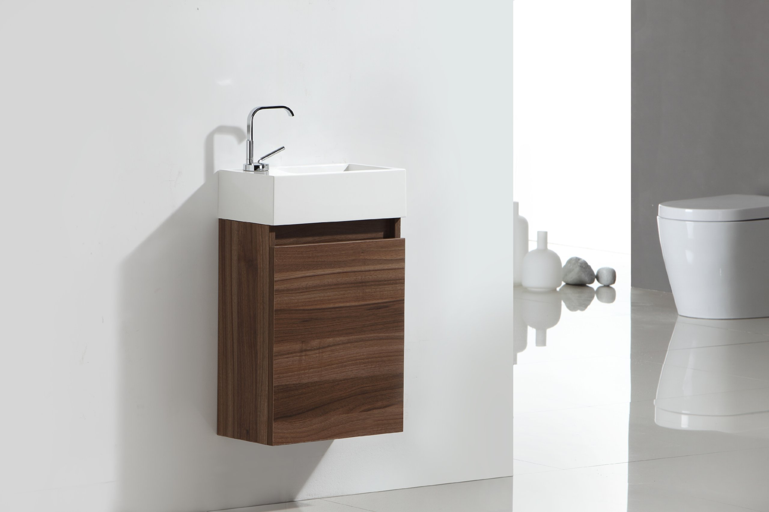 Luxo Marbre RELAX V40 W Relax Vanity with Synthetic Marble Sink, Walnut - Includes: single-door vanity with white synthetic marble sink, plug and single faucet hole Available in choice of two colors: Walnut or Alamo Oak Rectangular basin 15.75-Inch x 4.5-Inch x 8.75-Inch, 1.5-Inch drain opening - bathroom-vanities, bathroom-fixtures-hardware, bathroom - 710p F2hN7L -