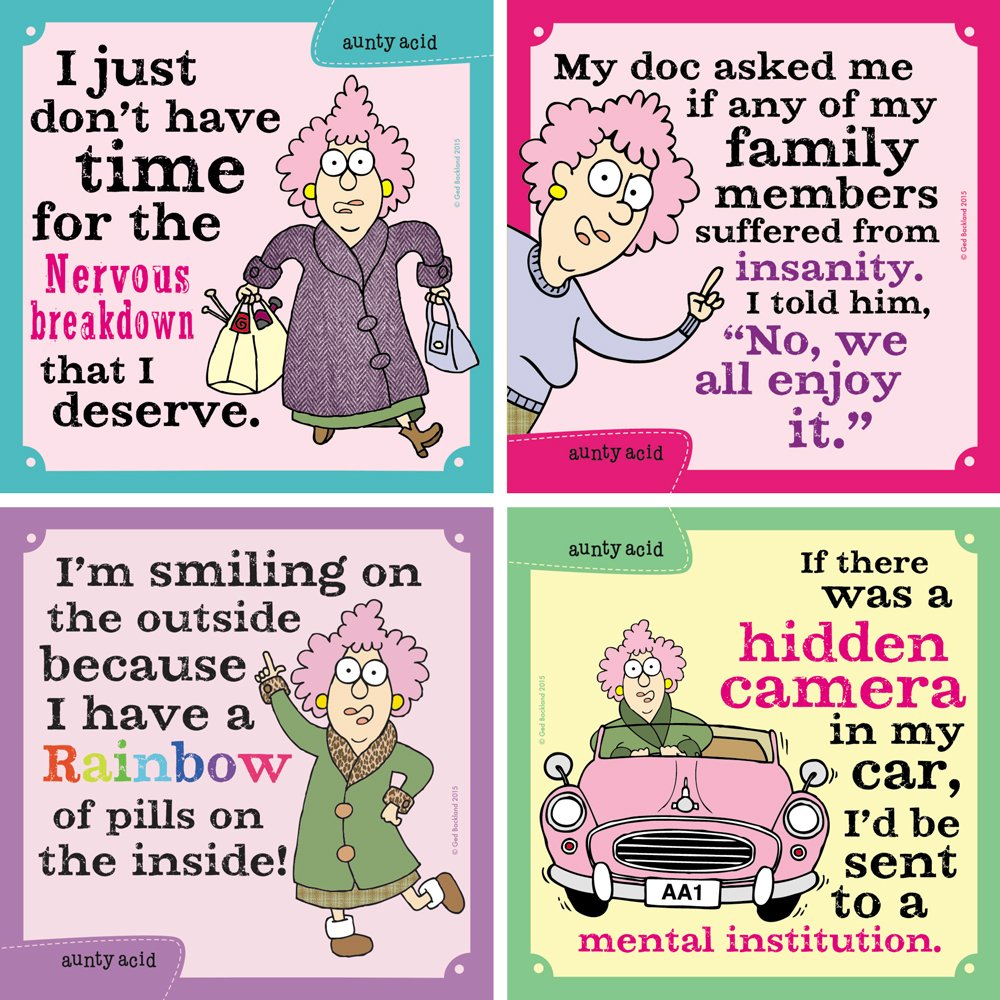 Set of 4 Set of 4 Tree-Free Greetings Hilarious Aunty Acid 4 Piece Set Nervous Breakdown Magnets