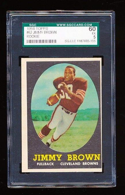 Amazoncom Sgc 60 Jim Brown 1958 Topps Rc Rookie Card 62