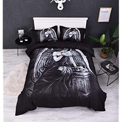 Abojoy Guardian Angel Wings Skull Duvet Cover Set, Black and White 3 Piece Bedding Set for Teens Boys Girls, Queen(1 Quilt Cover + 2 Pillowcases): Home & Kitchen