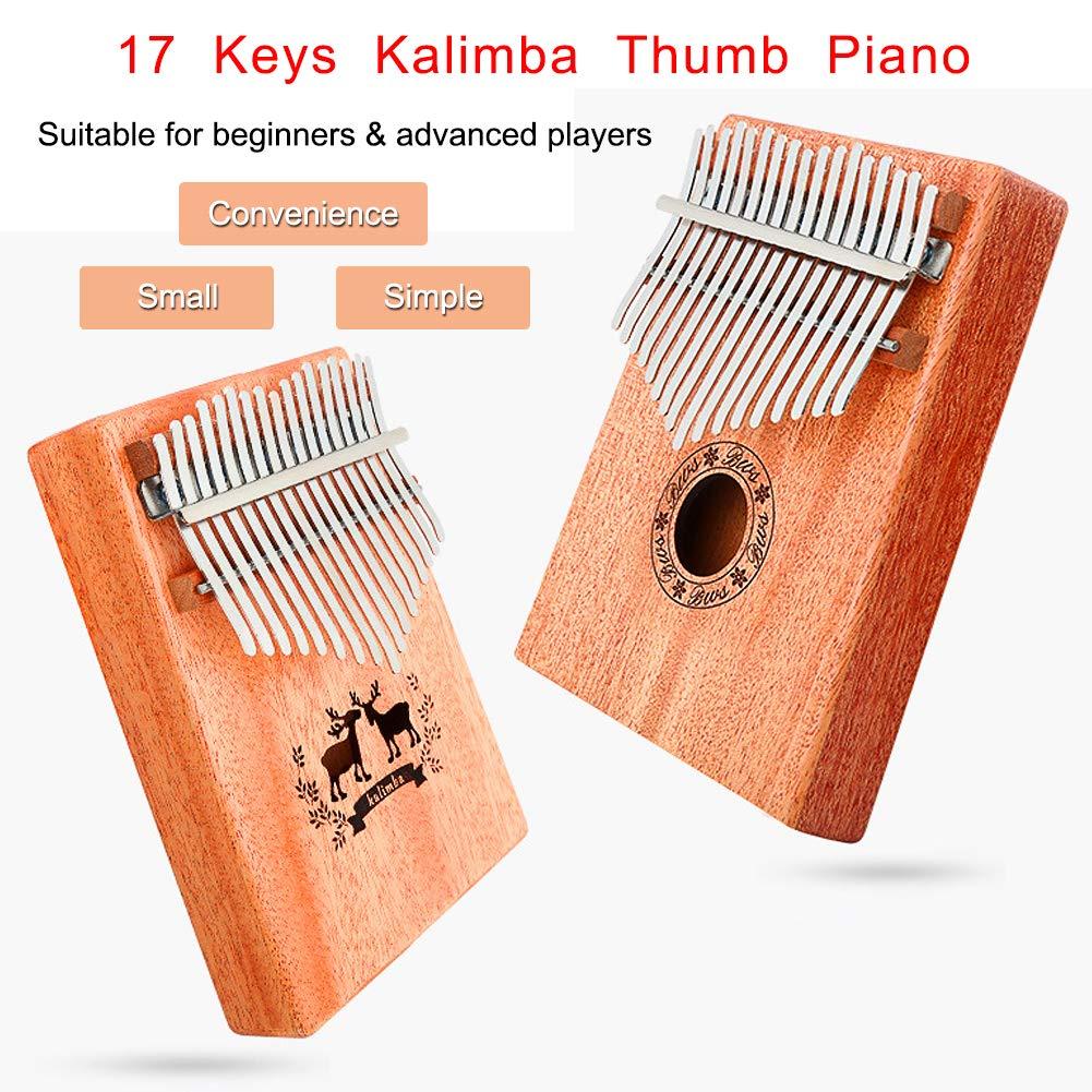 Kalimba 17 Keys Thumb Piano, CJRSLRB Mahogany Wood Finger Piano with Tune Hammer, Storage Protective Bag, Scale Sound Sticker, Study Instruction, Mbira Likembe for Kids Adult Beginners (Wood) by CJRSLRB (Image #8)