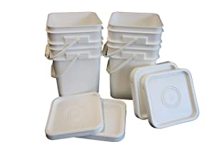 Ropak USA 4 Gallon Food Grade White Square Plastic Bucket with Handle & Lid - Set of 4