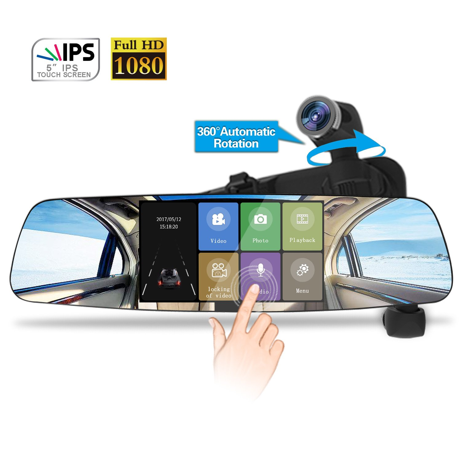 Spedal Car Dash Cam, 1080P HD 5.0 Touch Screen Dashboard Camera, 360°Automatic Rotation Car Camera with Parking Monitor, Loop Recording, G-Sensor, Night Vision (Backup Camera Not Included)