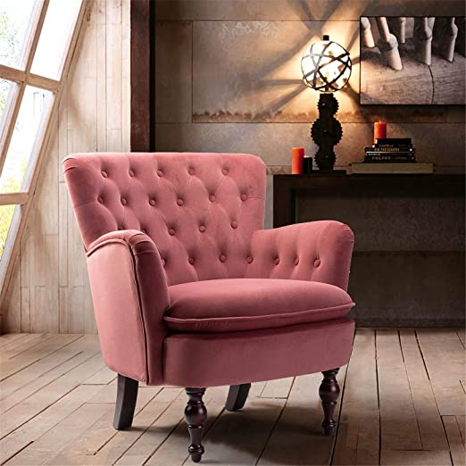 Amazon Com Dark Pink Velvet Tufted Arm Chair Isabella Small Accent Chair For Lving Room Bedroom Rosewood Kitchen Dining