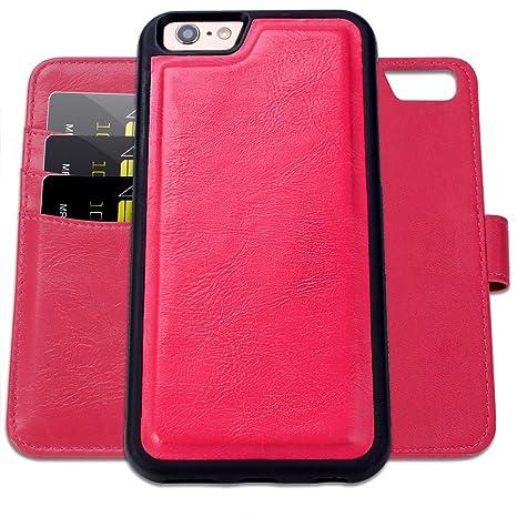 SHANSHUI Funda iPhone 6/6s Carcasa de Piel, Case 360 Protección(Rosa Rojo)