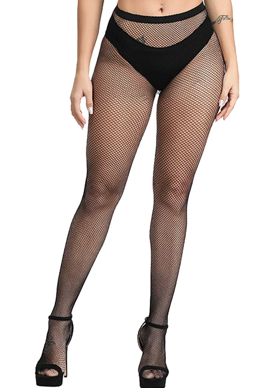 E-Laurels Womens High Waist Patterned Fishnet Tights Suspenders Pantyhose Thigh High Stockings Black