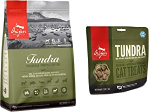 Orijen Tundra Dry Cat Food Biologically Appropriate 4 lb. Bag. and 1 Tundra Cat Treat 1.25 Ounce