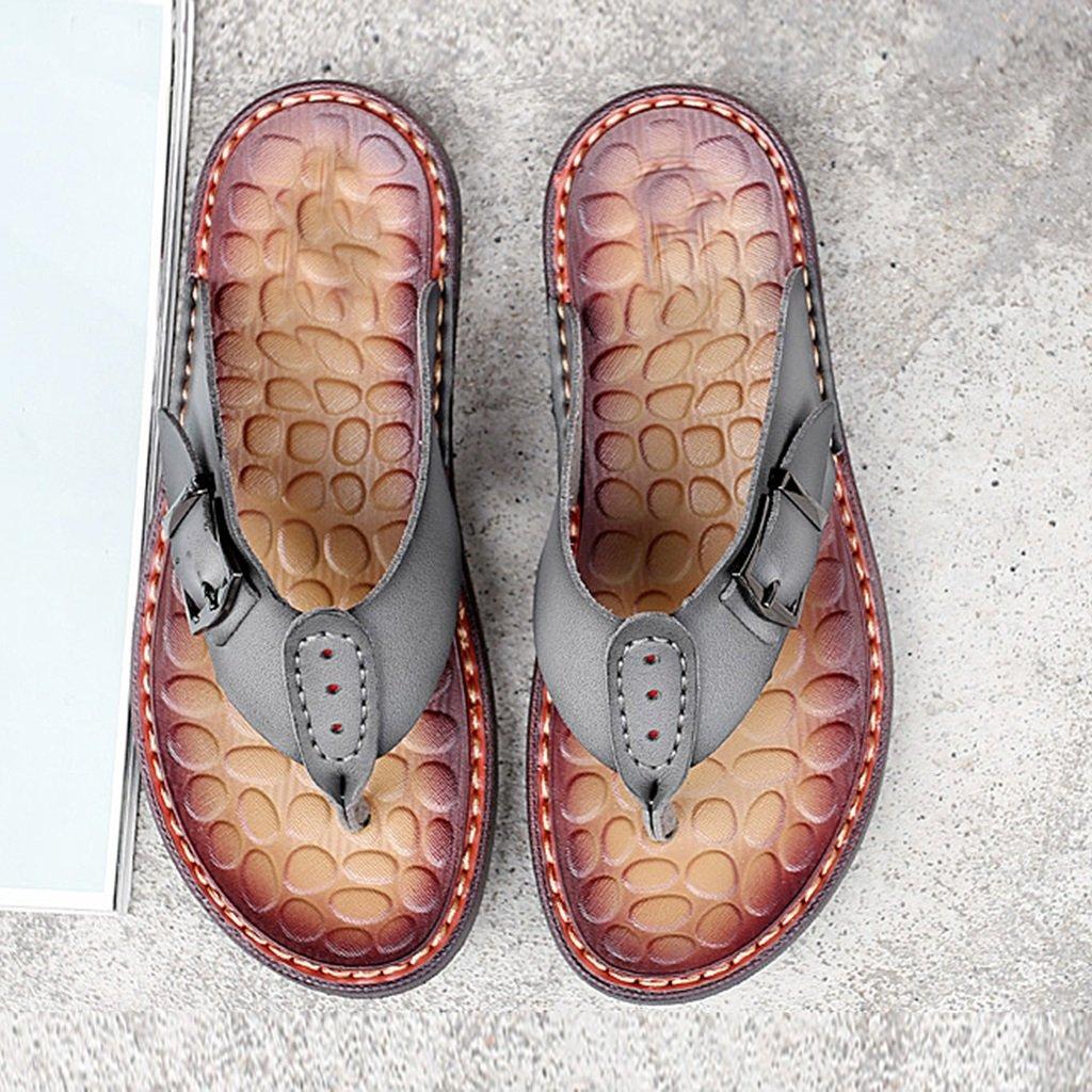 YUBINtuoxie Europäische und Amerikanische Manuelle Rutschfeste Schuhe Hausschuhe Männer Leder Strand Schuhe Rutschfeste Persönlichkeit Kühlen Outdoor Casual Sandalen Stil Einfach und Bequem Hausschuhe. Gray d20d30