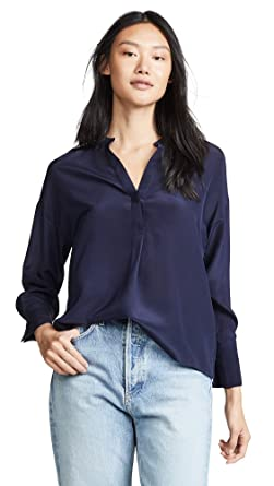 ea22d69bbd451 Amazon.com  Vince Women s Band Collar Blouse  Clothing
