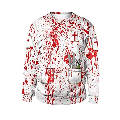 kaifongfu Halloween Long Sleeve Pullover Tops Blouse for Blood Handprint Party(White,M)
