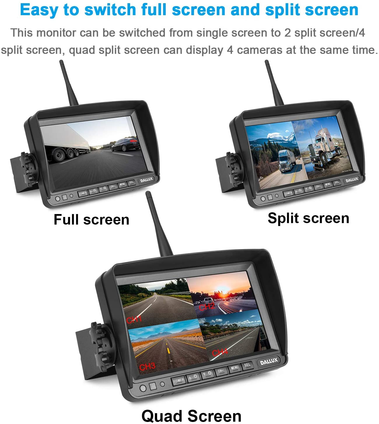 Digital Wireless Backup Camera Kit Niloghap Upgrade HD Observation System Van 7 inch Built-in DVR Monitor and Night Vision IP69 Waterproof Rear View Camera for Truck Farm RV Bus Trailer Pickup