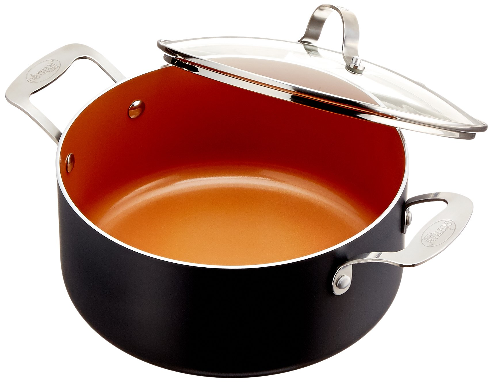 Gotham Steel 5-Quart Stock Pot with Ultra Nonstick Ceramic and Titanium Coating, Includes Tempered Glass Lid - Dishwasher Safe