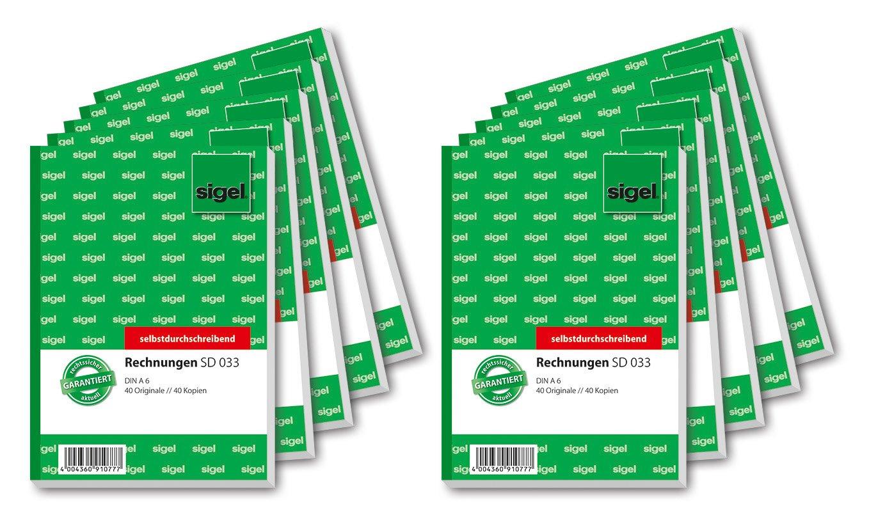 Sigel SD033 - Blocco per fatture, lingua tedesca, fogli di carta copiativa, 1° e 2° Foglio stampati, formato A6, 3 blocchi da 2 x 40 fogli Sigel GmbH 033S3