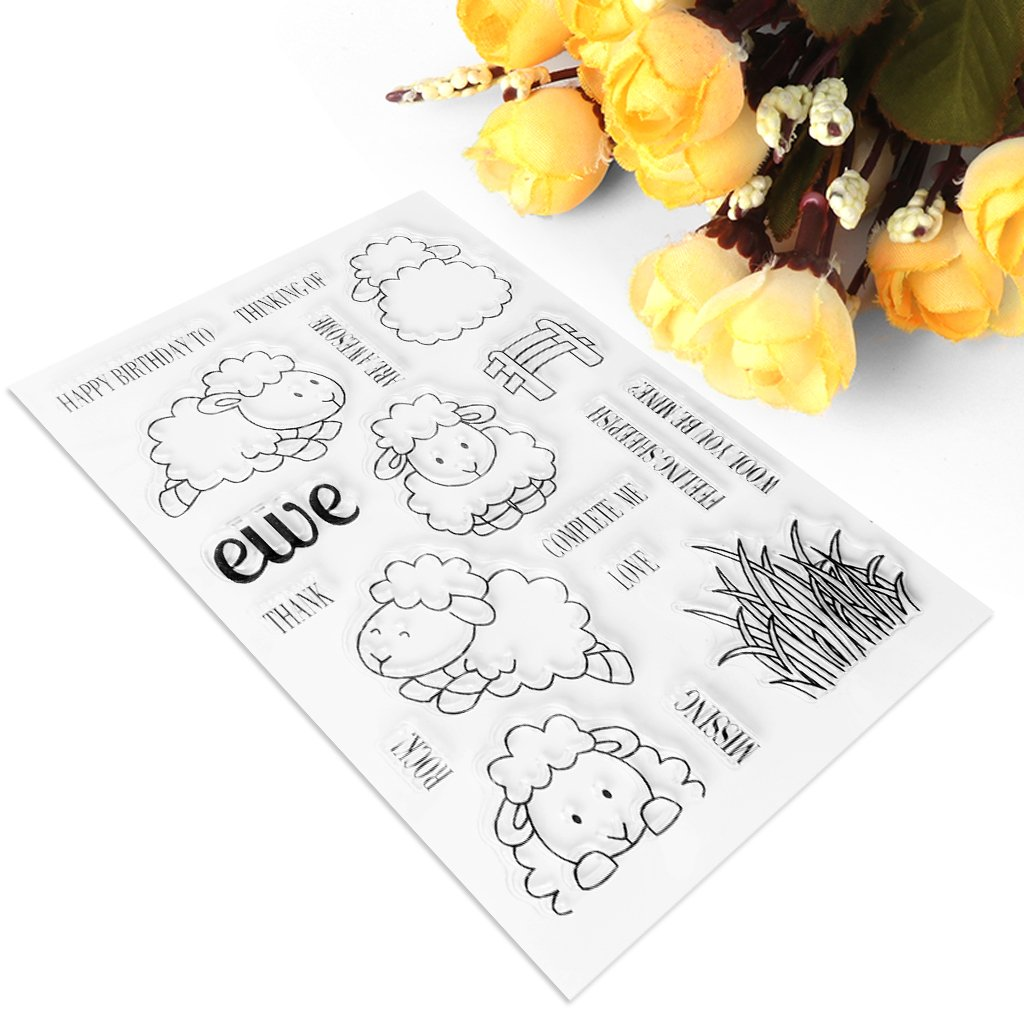 Lifet Schaf Briefmarke Transparente Silikonstempel Set Text Clear Stamps Stempel Mit Vielfalt-teilig Schneiden Schablonen