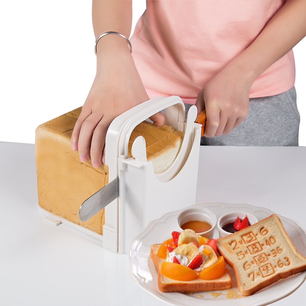 Bread Slicer Customization Toast Slicer Loaf Slicer Cutter for Homemade Bread ABS Environmentally Friendly Plastic Foldable, Bread Cutting Guide and Adjustable with 4 Slice Thicknesses,White by SUMK (Image #6)