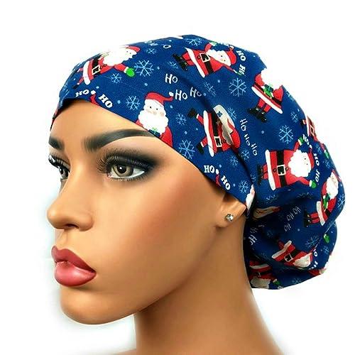 cd71b8afb5354 Euro Surgical Scrub Hats Women s Blue Santa Claus Christmas Cap Adjustable  Bouffant