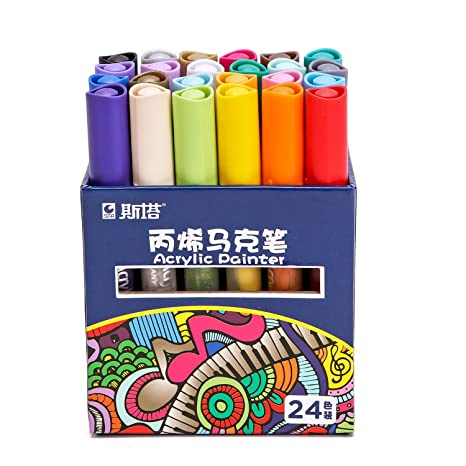 Paint Pens Fine For Rocks Acrylic Paint Markers 24 For Wood Medium Point Art Permanent Paint Pens Paint Markers For