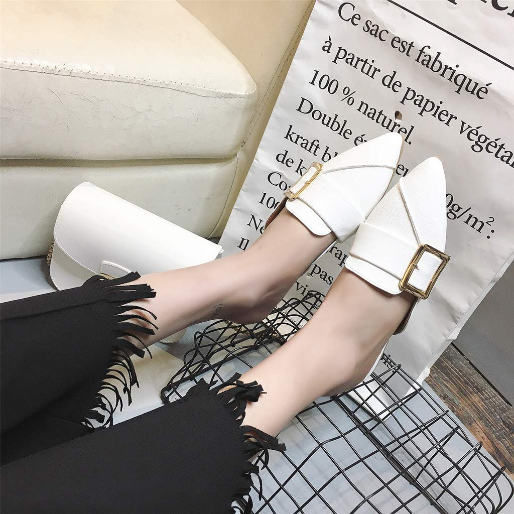 NEEKEY Fashion Casual Soft Pointed Flat Shoes Flats Shoes Women Half-Headed Buckle Lazy Single Shoes