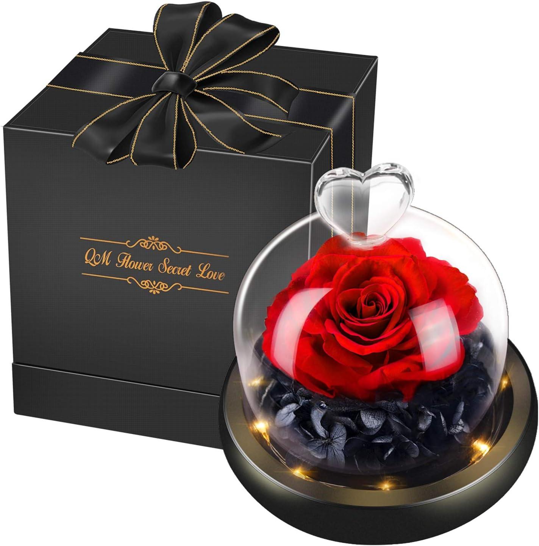 swonuk Flor Eterna Rosa Fresca Preservada con Luz Cálida Rosa Encantada en Cúpula de Cristal Regalo para San Valentín Día de la Madre Aniversario Cumpleaños Navidad (Rojo)