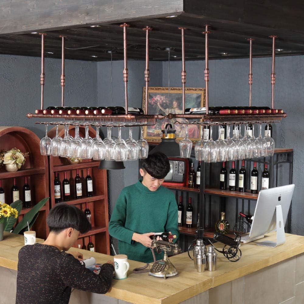 Stemware Holder Soportes para Copas Soporte De Copa De Vino Colgante Colgador de Vino Colgante Altura Ajustabl Negro 60cm RENEO 30cm en el Techo Estante para Bares restaurantes cocinas