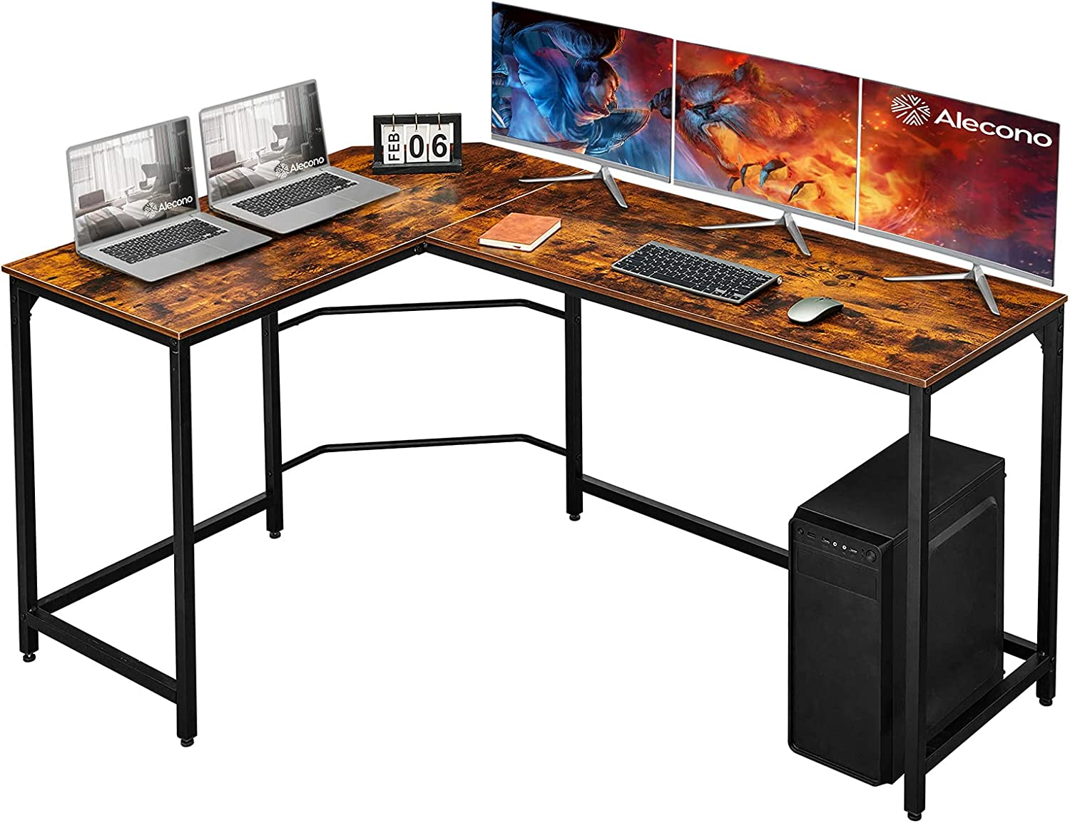 Alecono L Shaped Desk 62 inch Corner Computer Gaming Desk with Large Desktop,Enough legroom Home Office Desk Thicker Steel Structure Sturdy Workstation Table Easy to Assemble and to Clean,Rustic Brown
