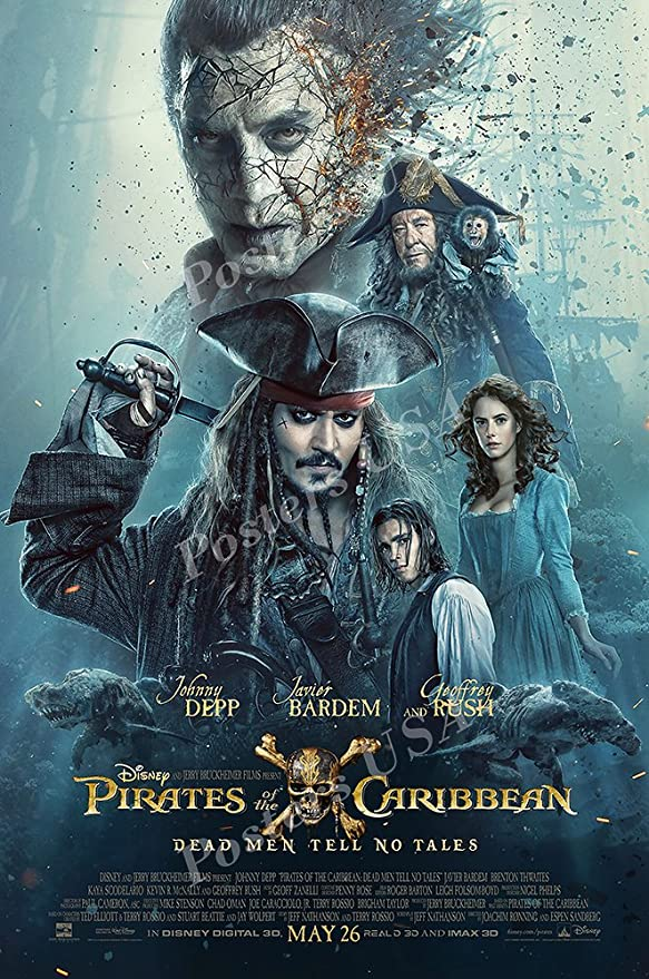 Pirates of the Caribbean Dead Men Tell No Tales Movie Poster Depp v3 24x36