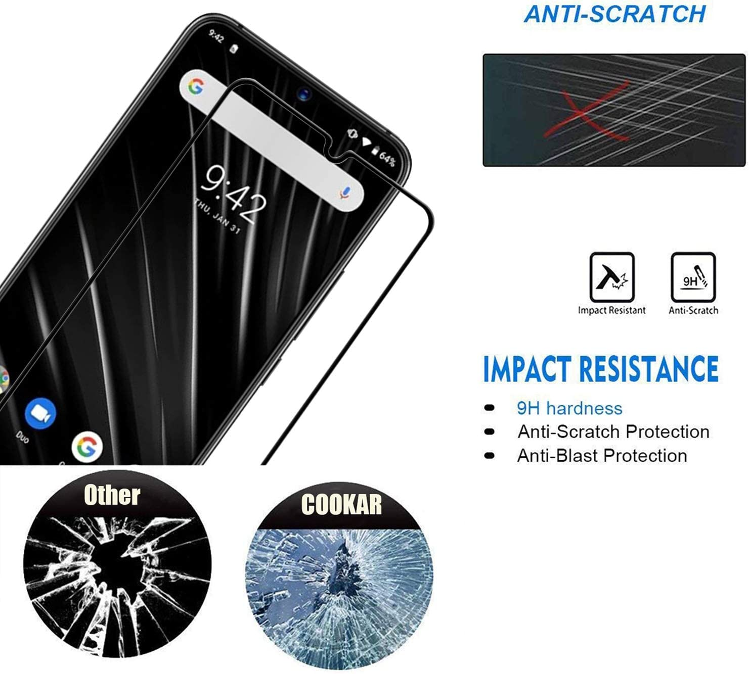 cookaR Protector de Pantalla UMIDIGI S3 Pro, Cristal Templado ...