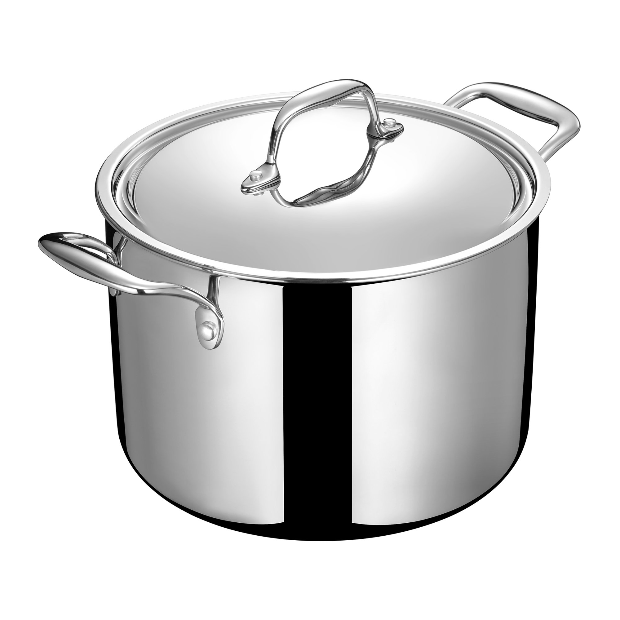 Injoy 8 Quart Stock Pot with Glass Lid Dishwasher Safe 18/10 Stainless Steel 5-Ply Bonded Multi-Purpose Cookware with LFGB certification and the standard of Germany DIN44904, 7.7 lb, Silver