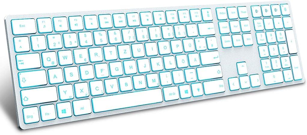 Jelly Comb Teclado retroiluminado con 3 canales Bluetooth, inalámbrico, tamaño completo, QWERTZ inalámbrico, recargable, para Windows PC, portátil, ...