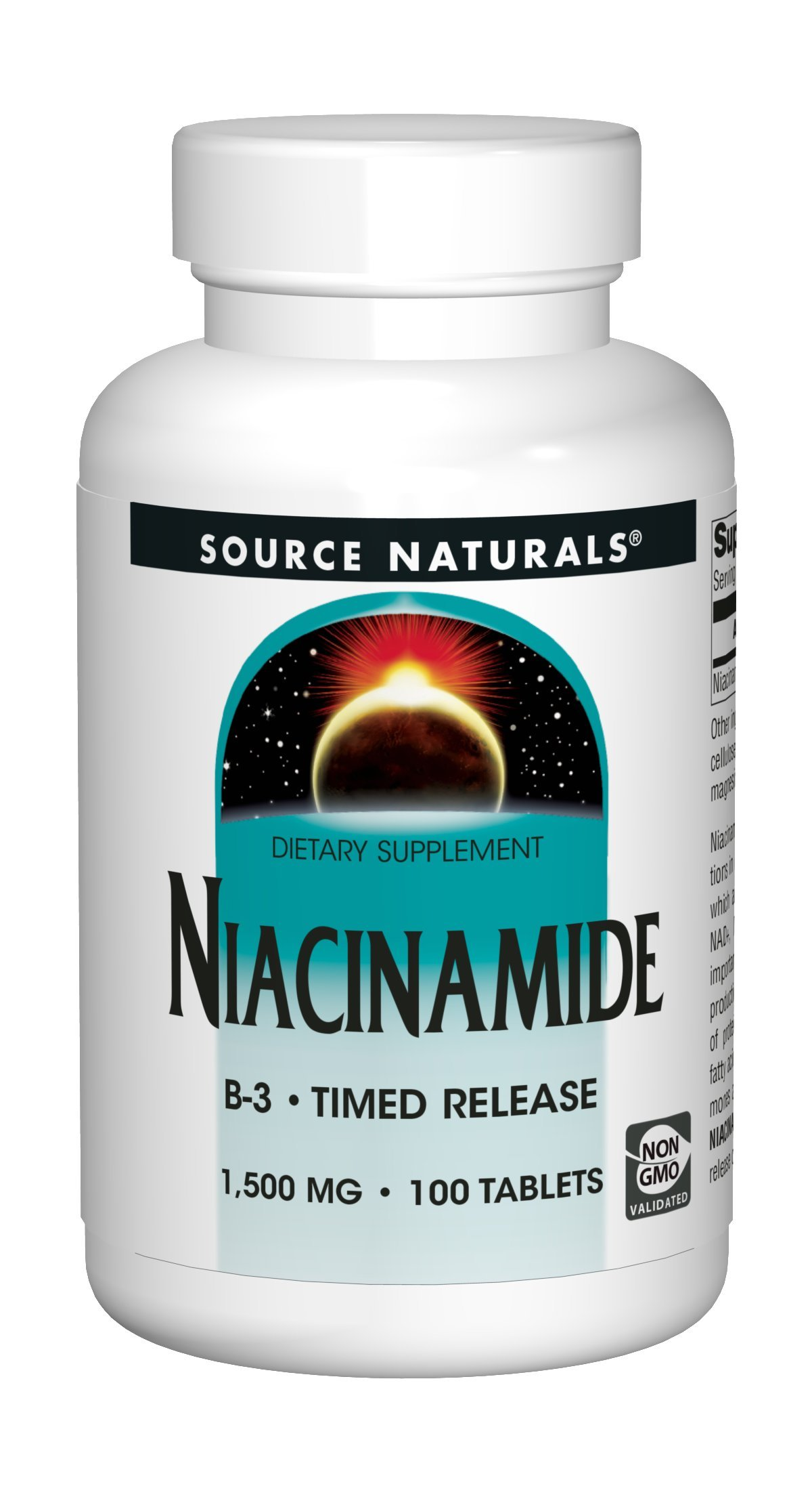 Source Naturals Niacinamide 1500mg Timed Release Vitamin B3 Supplement - Flush Free - 100 Tablets