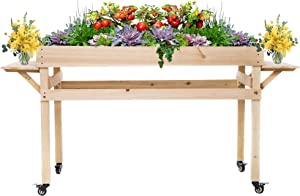 OMISHOME Elevated Garden Bed | 24 x 48 x 30 Inch Cedar Wood Raised Planter for Indoor or Outdoor Use | Movable Raised Garden Bed Kit with Rollers and Two Foldable Shelves