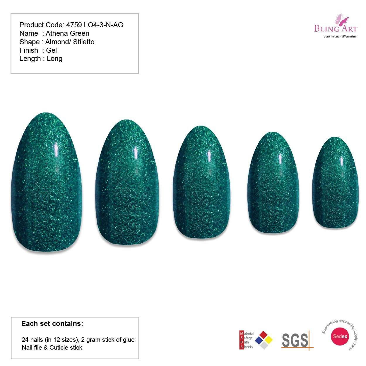 Amazon.com : Bling Art Almond False Nails Fake Stiletto Gel Green ...