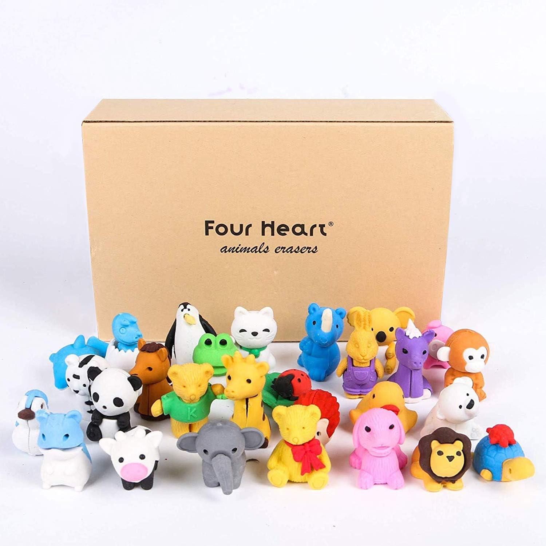 Four Heart - Juego de 30 gomas de borrar para animales, diseño aleatorio, ideal para divertirse y jugar a los niños con caja de regalo