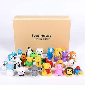 Four Heart - Juego de 30 gomas de borrar para animales, diseño ...