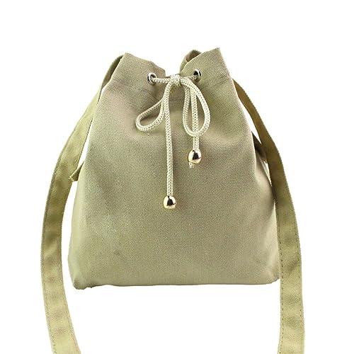 1207a9b4a087 Amazon.com: Elaco Fashion Women Canvas Drawstring Handbag Shoulder ...