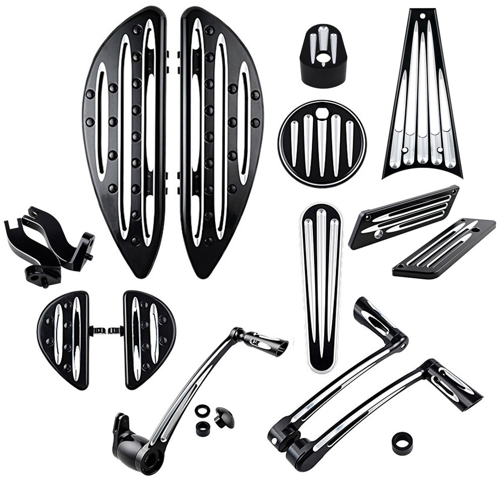 Front Rear Floorboards Footpeg Mount Brake Arm Kits Heel Toe Shift Levers Shifter Pegs Dash Accessory Pack Ignition Fuel Door Cover Saddlebag Latch Cover Frame Grille For 08-13 Harley Touring