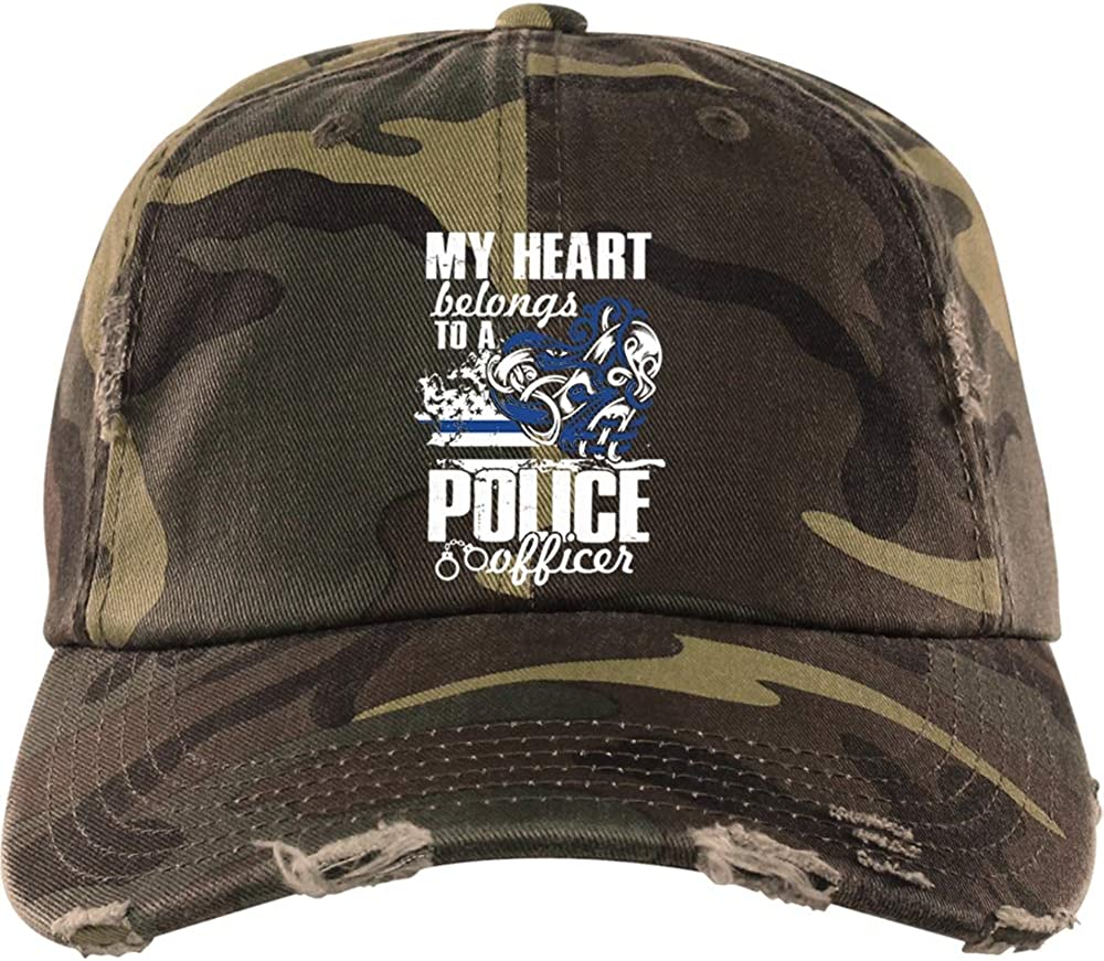 My Heart Belongs to Him District Distressed Dad Cap COLOSTORE Police Officers Wife Hat