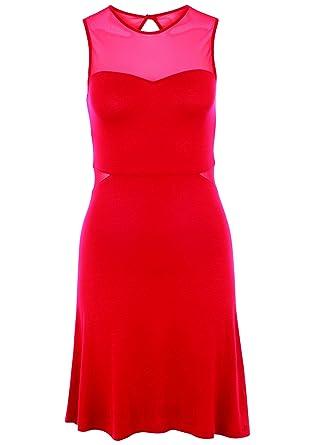 0bb8734f4d8 Even ODD Robe de soirée en Jersey pour Femmes en Rouge ou Noir uni - Robe  Patineuse élégante avec décolleté Transparent